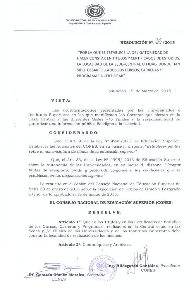 Resolución N° 32-2015