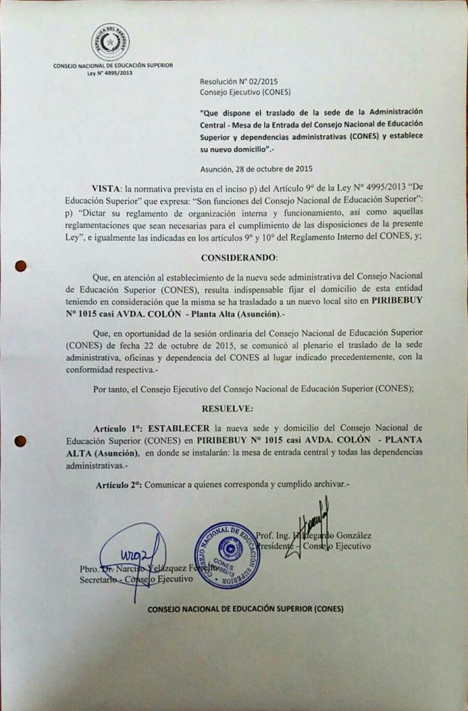 Resolución N° 02-2015 Consejo Ejecutivo