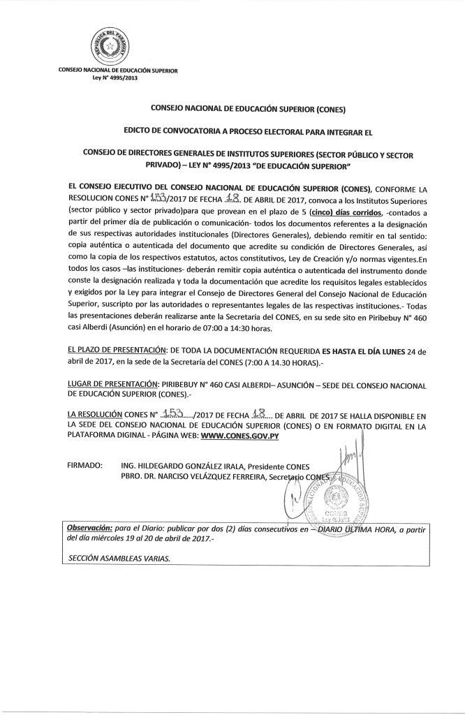 Edicto de Convocatoria - Consejo de Directores Generales